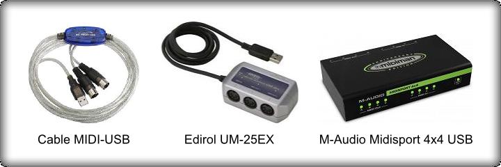 Cables y adaptadores USB/MIDI
